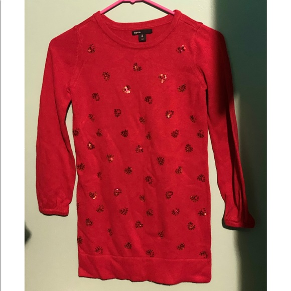GAP Other - Gap kids girls red sweater with sequin hearts
